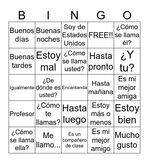 Saludos Bingo Card