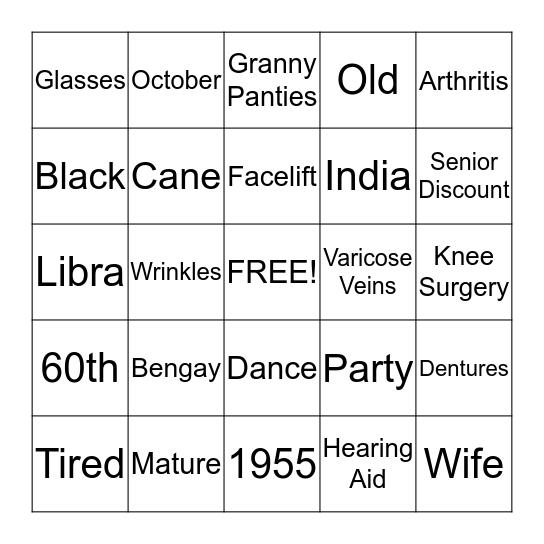 Kamini's 60th Bingo Bash Bingo Card