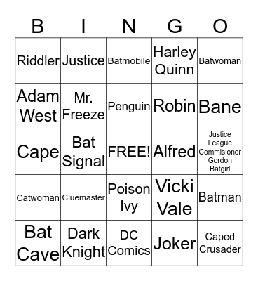Batman Bingo Card
