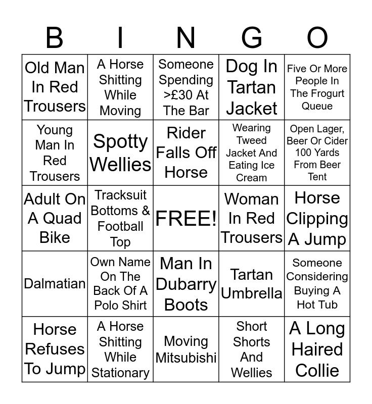 Horse Trials Bingo Card