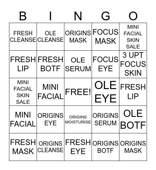 """Focus"" on Skincare Bingo Card"