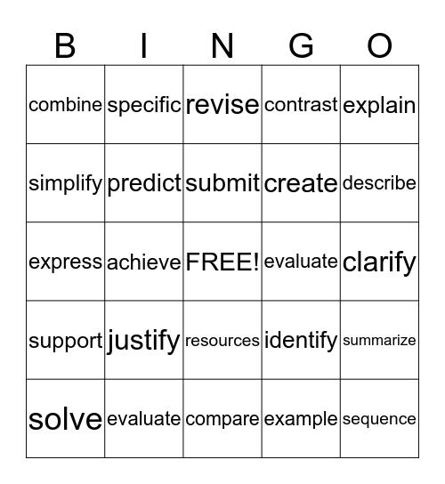 Bingo ISTEP WOW Words Bingo Card