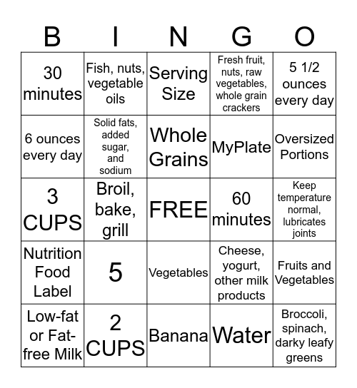 NUTRITION Bingo Card