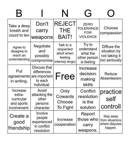 Conflict Resolution Bingo Card