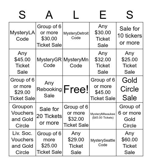 Public Sales Bingo Card