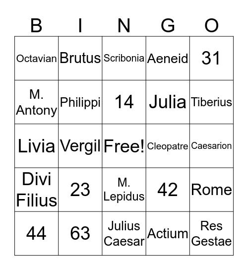 Vinco Augustum! Bingo Card