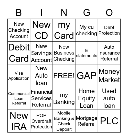 Retail Sales Contest MSR Bingo Card