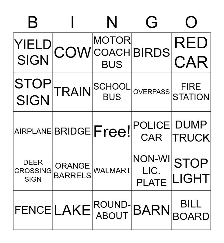 Travel Bus Bingo Card