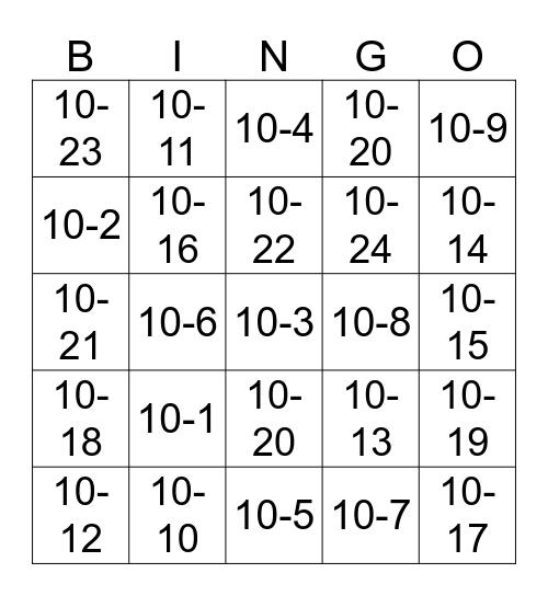 TEN CODE B-I-N-G-O Bingo Card