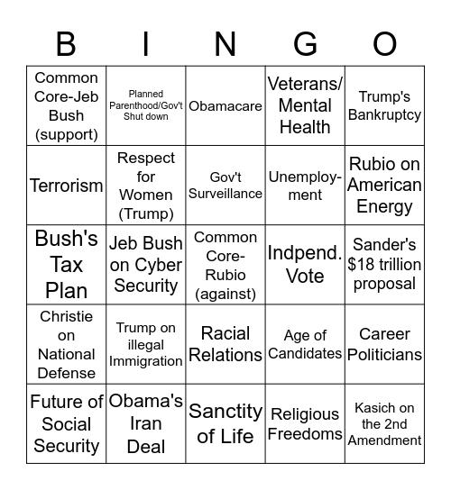 2015 Republican Presidential Candidate Debate Bingo Card