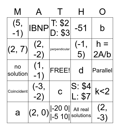 Algebra Unit 8 Matho Bingo Card