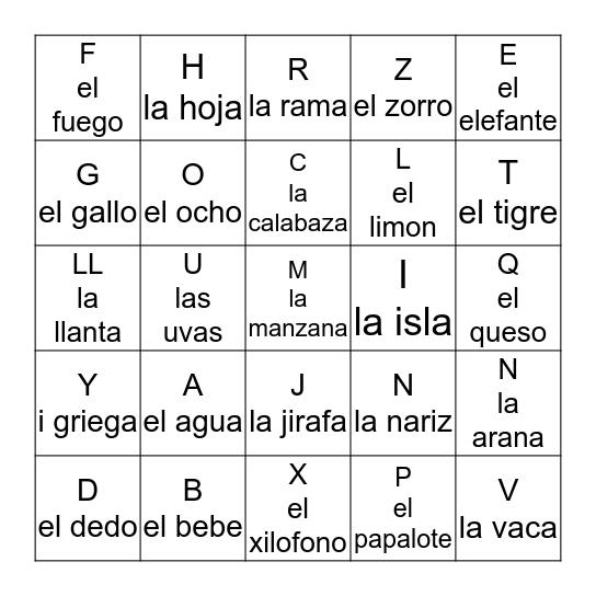 El Alfabeto Bingo Card