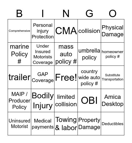 Auto Coverages Bingo Card