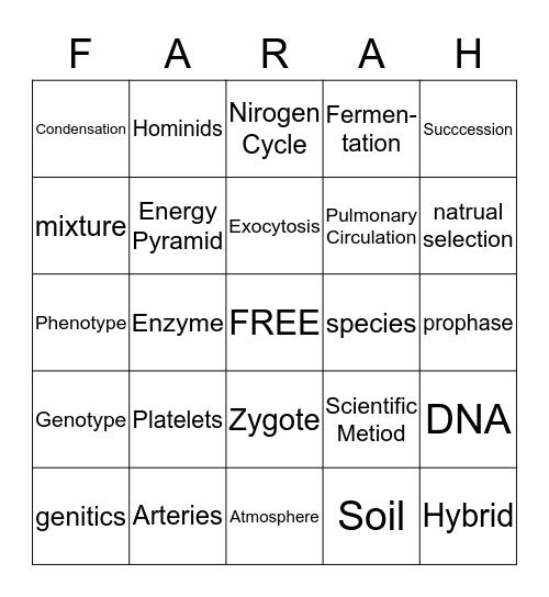 Life Science Bingo Card