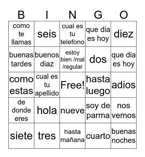 esponol  Bingo Card