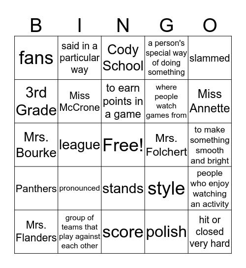 Lesson 5 Vocab Bingo Card