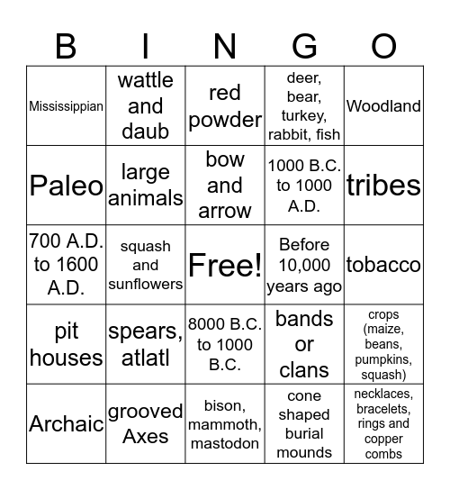Prehistoric Culture Bingo Card