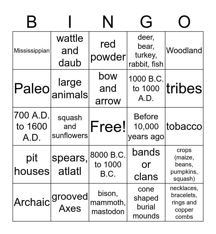 Prehistoric Culture Bingo Card