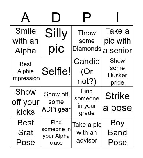 Alpha Delta Pi Chapter Retreat  Bingo Card