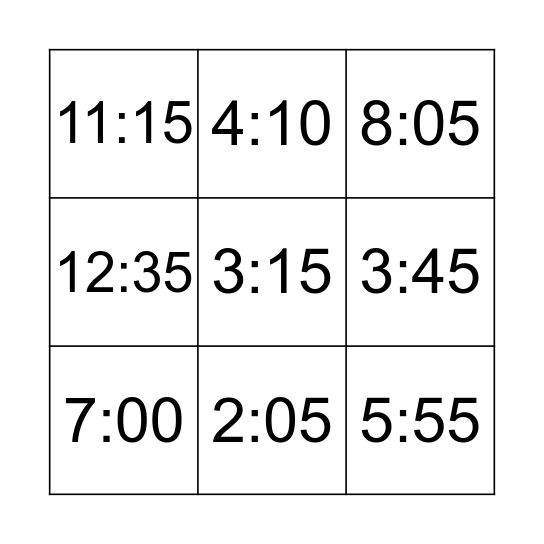 What time is it? Bingo Card