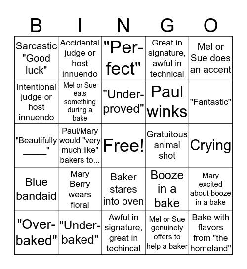 "The Great ""Great British Bake Off"" Bingo Card Bingo Card"