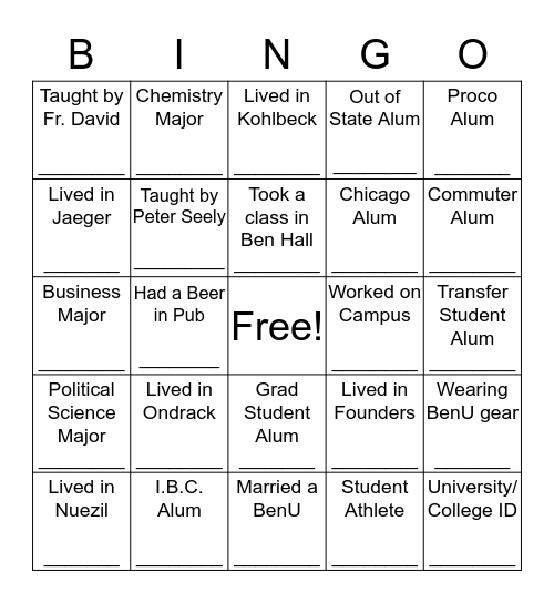 Student Life Alumni Bingo Card