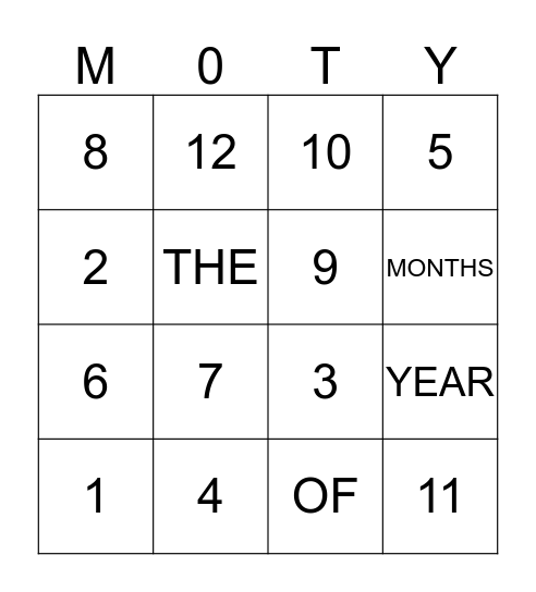 MONTHS OF THE YEAR Bingo Card