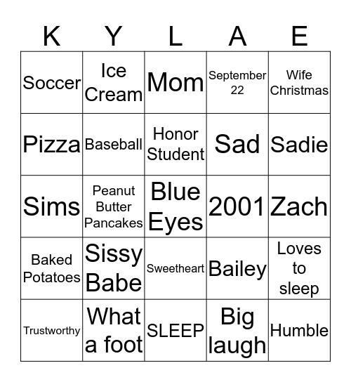 KYLA Bingo Card
