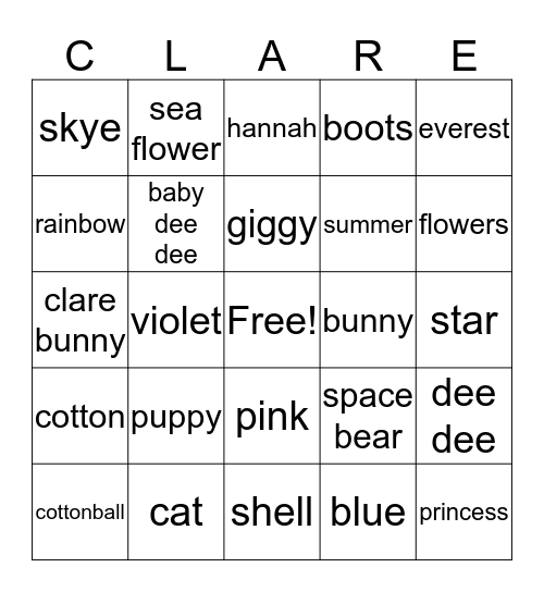 Clare's Animals & Toys Bingo Card