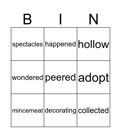 OWLBERT Bingo Card