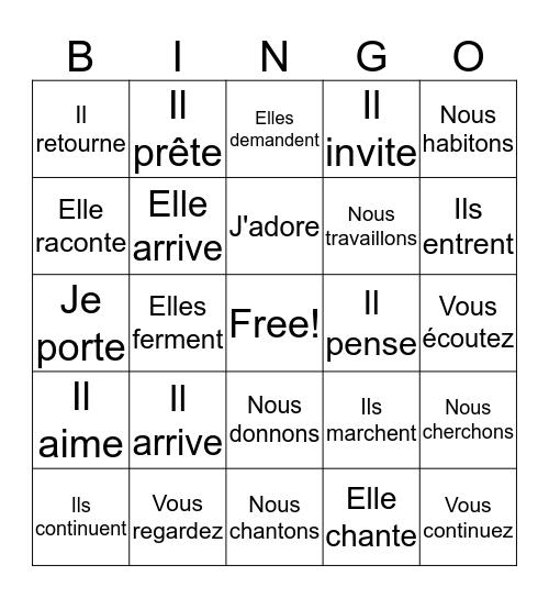 -ER verbs - Present Bingo Card