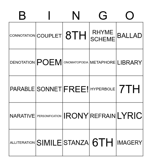 Poetry Bingo Card