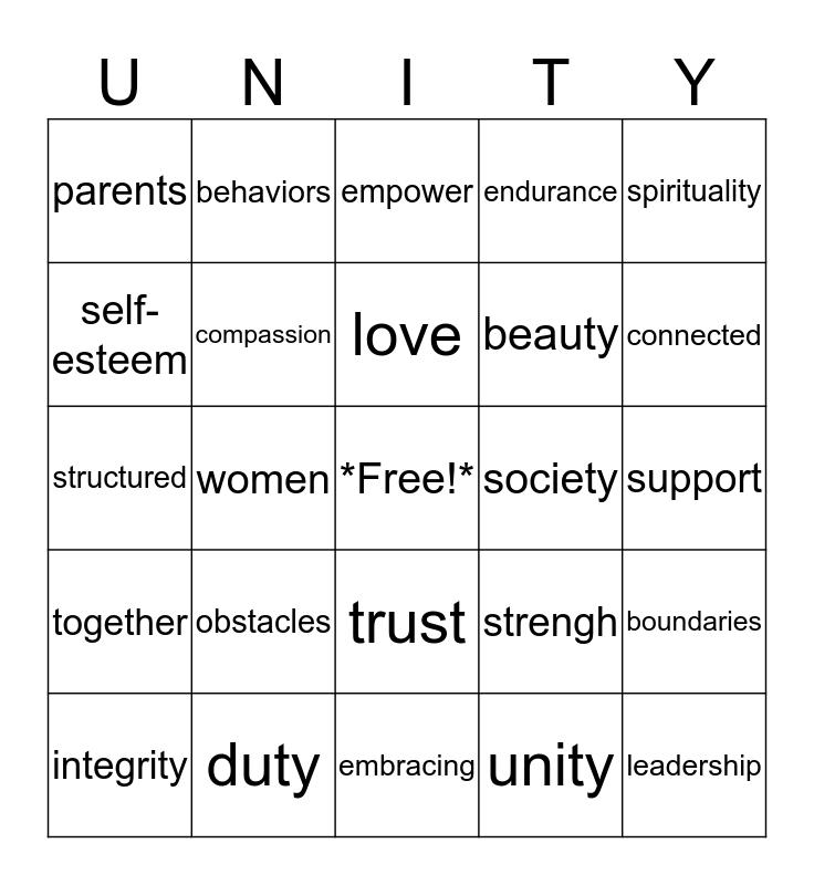 Sisters of Unity Bingo Card