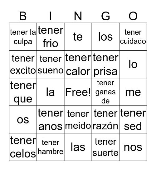 spanish baker Bingo Card