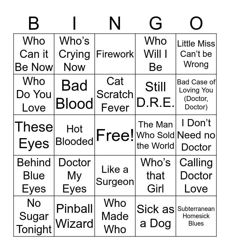 The Doctor Bingo Card