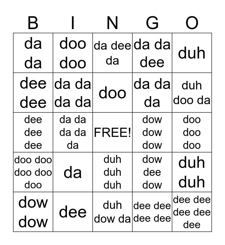 """Non-sense """"D"""" words Bingo Card"""