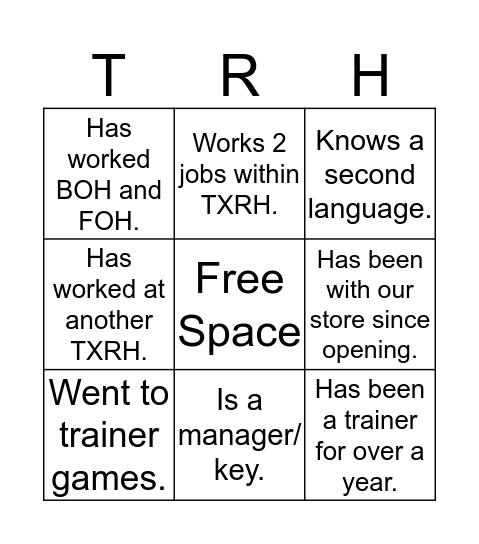 TXRH Bingo Card
