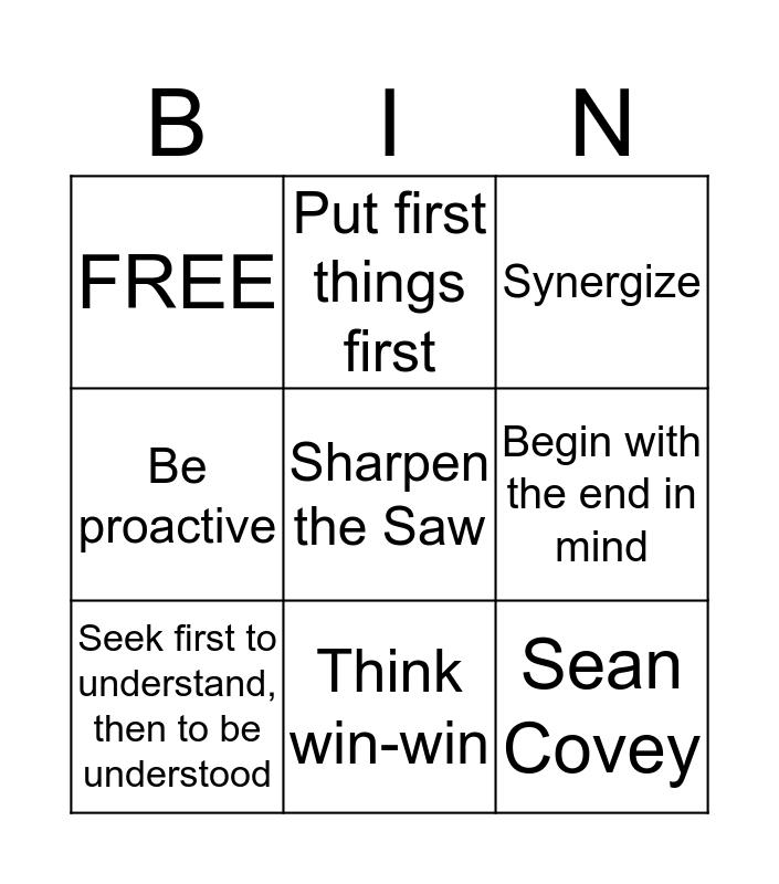 7 Habits Bingo Card
