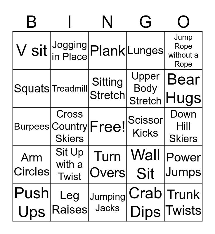 RECS Aerobic Fun Bingo Card