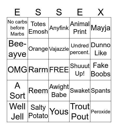 Jess's Hen Do Lingo Bingo Card