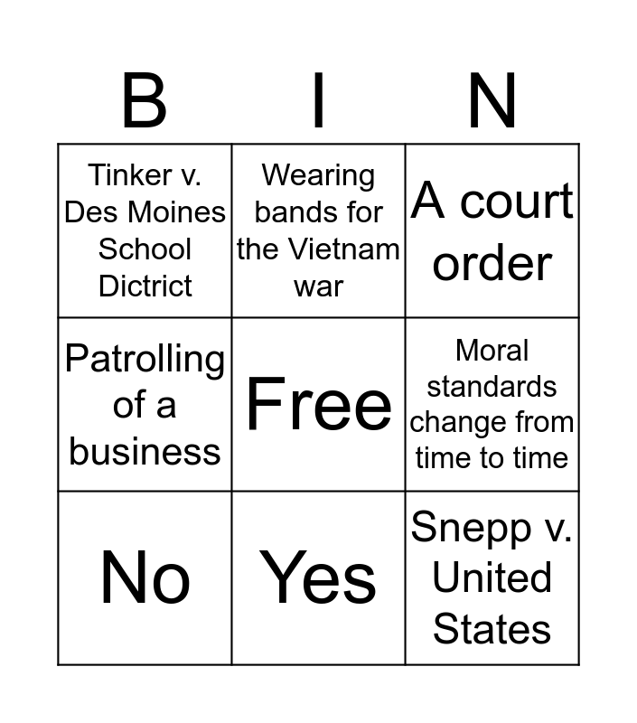 Chapter 19 section 3 Bingo Card