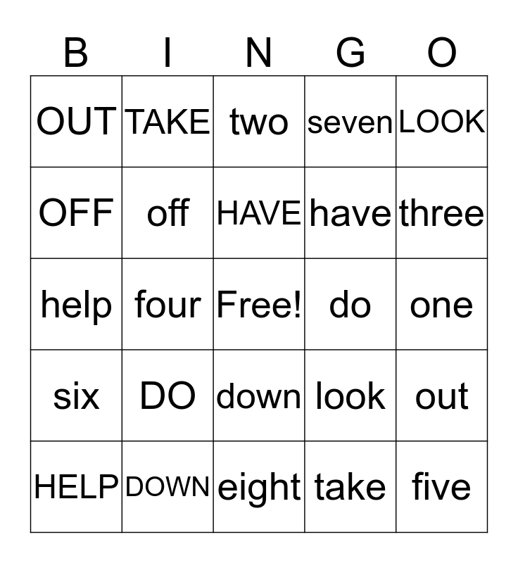 Unit 6 Sight words Bingo Card