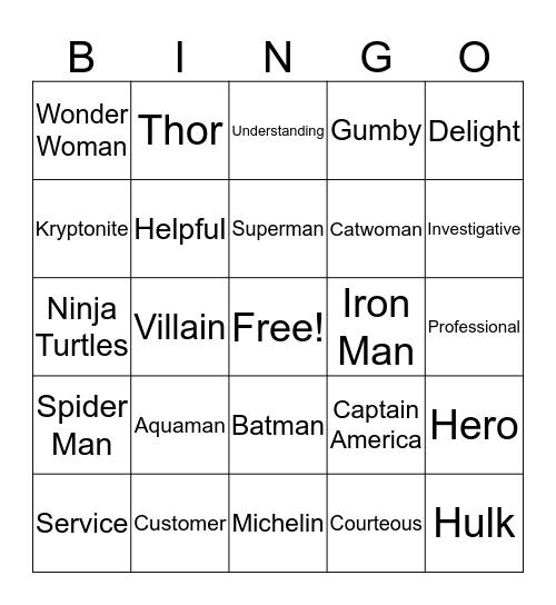 CSD Heroes Bingo Card