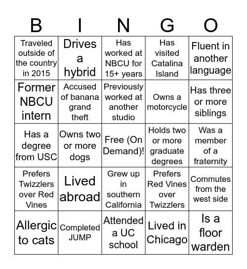 Rights Group Bingo Card