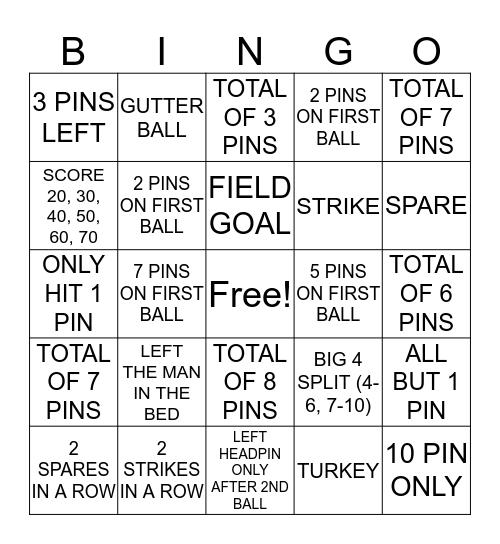 Bowling Bingo for Bucks Bingo Card
