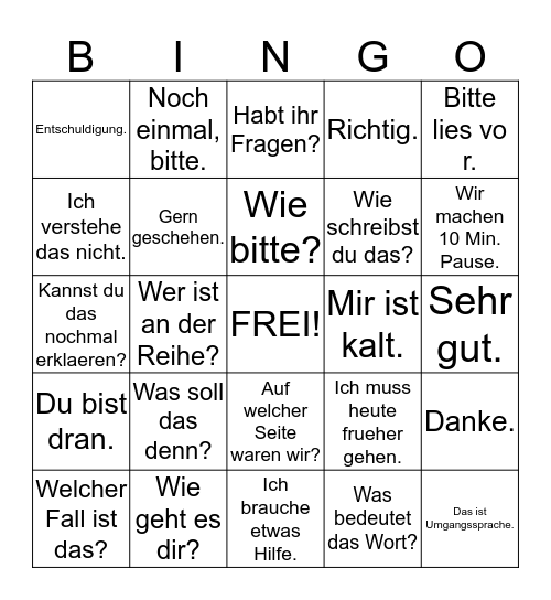 Deutschstunden- Bingo Card