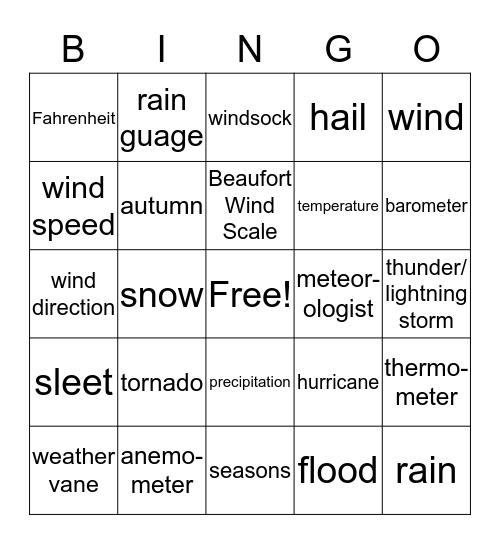 weather vocabulary Bingo Card