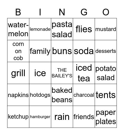 The Bailey's End Of Summer BBQ Bingo Card
