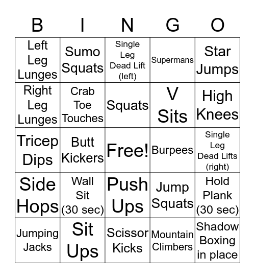 LAF Fitness Bingo Card