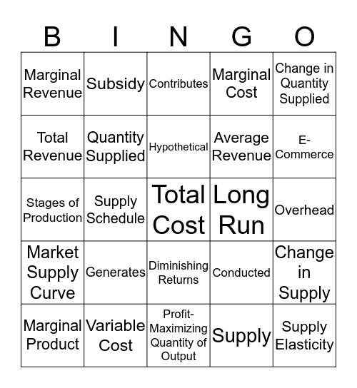 CH 5 - Supply Bingo Card